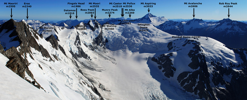 Mt Aspiring and the peaks above the Dart Glacier from Mt Edward.