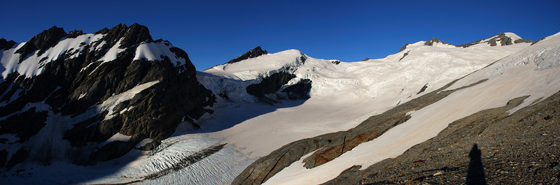 The Whitbourn Glacier from our second campsite. From left to right are Mt Delta, Snowball Saddle, Pivot Peak, Whitbourn Saddle, Mt Maoriri and Mt Edward.