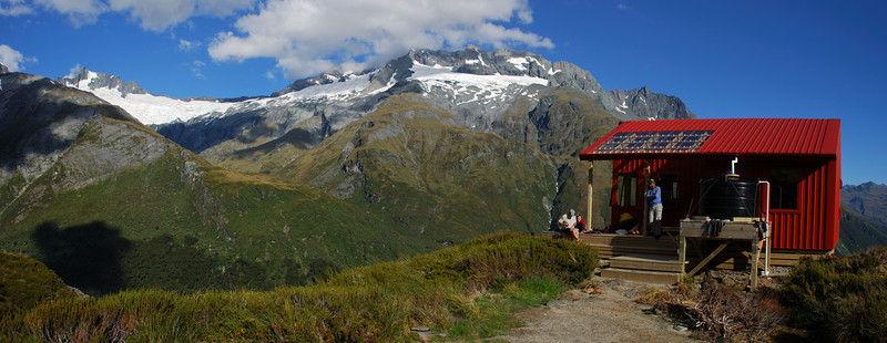A brand new Liverpool Hut. Mt Avalanche and Rob Roy Peak in the back.