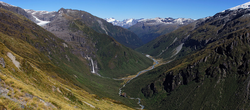 Looking down into the Arawhata from the Arawhata Saddle's western slopes. The Twin Falls drain the Snow White Glacier (top left) and merge into the Arawhata River at Top Flats. The Mercer Glacier is at the top right corner of the image. The Arawhata Rock biv is the huge boulder in the river bed at centre image.
