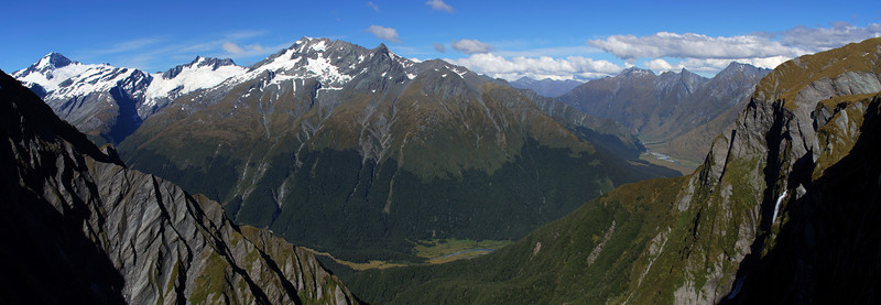 Looking into the West Matukituki Valley from Cascade Saddle. Heads Leap to the right.