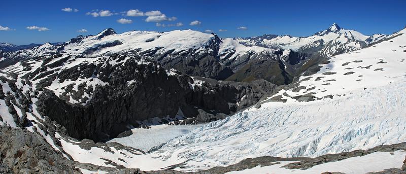The Snow White Glacier from our campsite north of Pivot Peak. Mt Ionia, the Mercer Glacier and Mt Aspiring above.