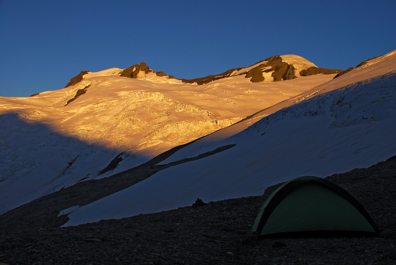 Campsite by the Whitbourn Glacier. Mt Maoriri and Mt Edward above.