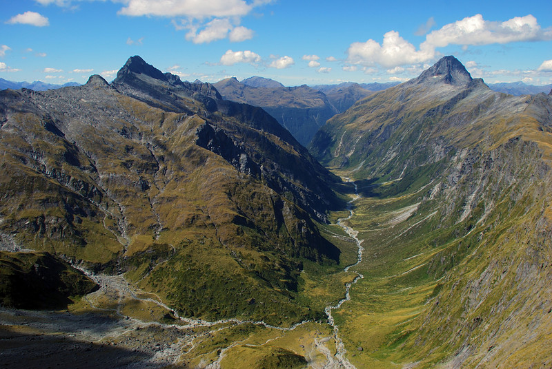 Newland Stream, framed by Mt Kuri (left) and Mt Aeolus (right), from the summit of Mt Achilles