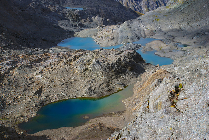 Tarns below Mt Dispute, at the head of the Mueller River