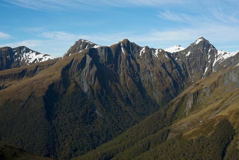 Panorama from the ridge north of Mt Cross: Powder Flask Peak, pt 1694m and pt 1690m, Mt Stuart and Mt Cameron