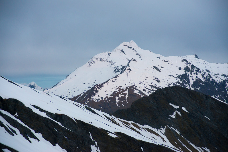 Mount Brwester from the Main Divide of the Southern Alps, south of the Lindsay Peaks
