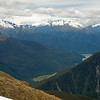 View across the Haast River from Mt Wilson. From left to right are Mount MacFarlane, Shattered Peak, Rough Ridge