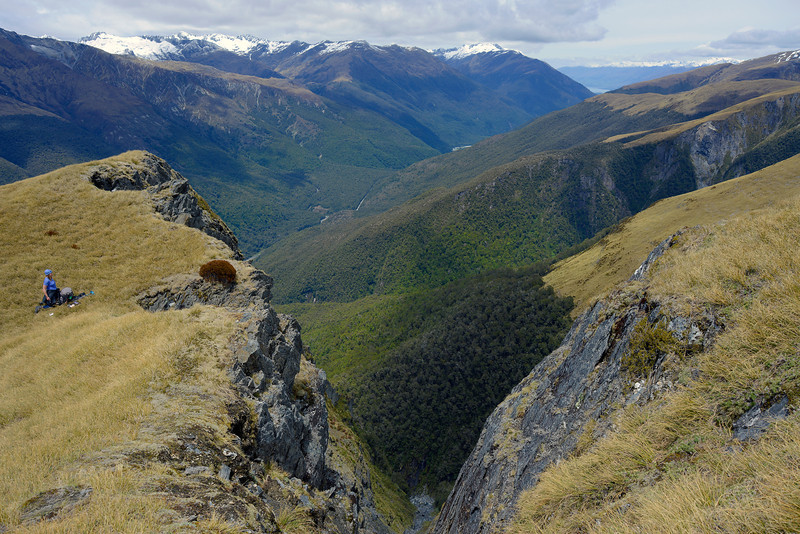 On the east ridge of Mt Wilson, looking down into Robinson Creek (foreground) and the Makarora River