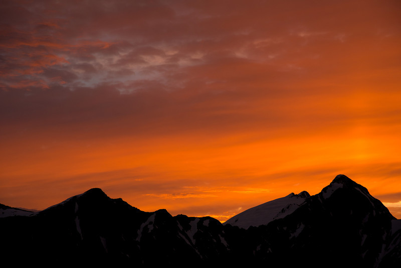 Sunset over pt 1690m, Mt Stuart and Mt Cameron