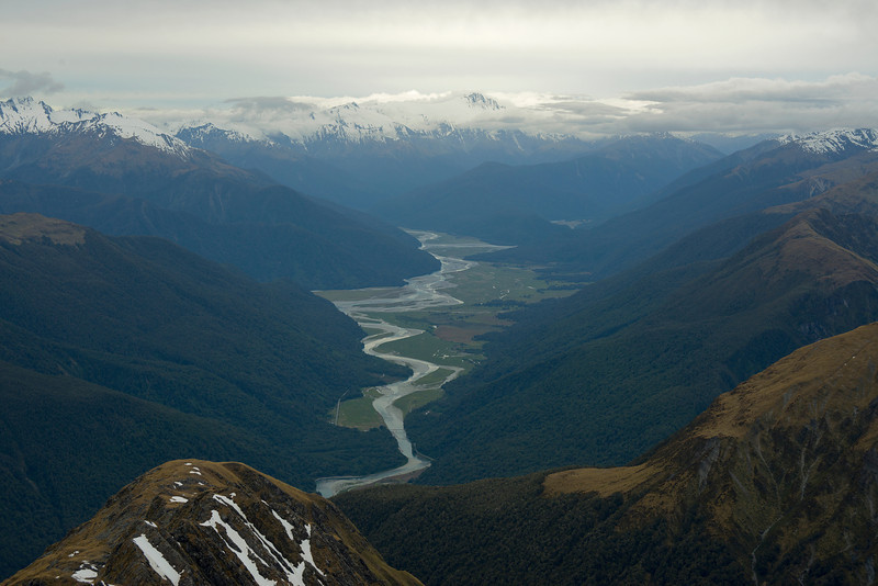 Haast and Landsborough Rivers and Mt Hooker, from Lindsay Peak
