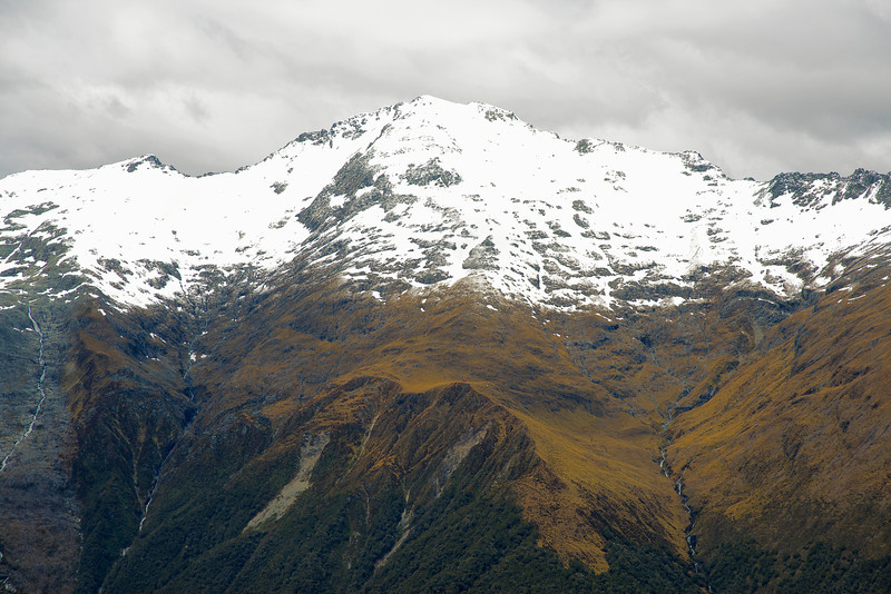 Mount Armstrong from Mount Wilson. Brewster Hut is visible as a little red dot at centre image