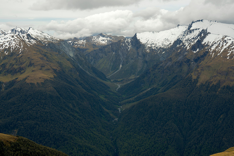 View into Strachan Creek from pt 1562m at the western end of Wilson Ridge. Mount Abrupt and Mt Peaceful are at the left edge of the image, The Joker on the far right. MacPherson Knob stands out above Mac Saddle at centre image.