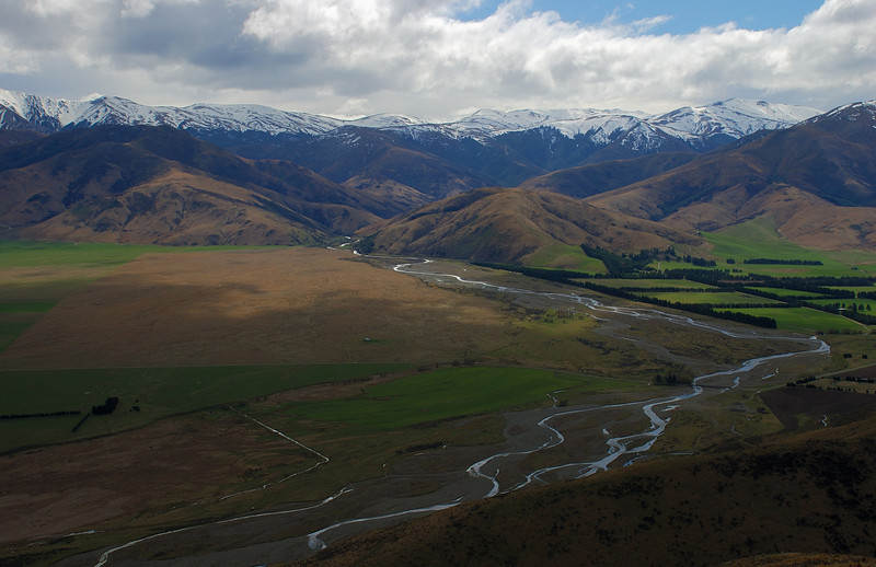 Lees Valley and the Puketeraki Range from the tops between Mt Richardson and Ashley Hill. The Ashley River / Rakahuri in the foreground