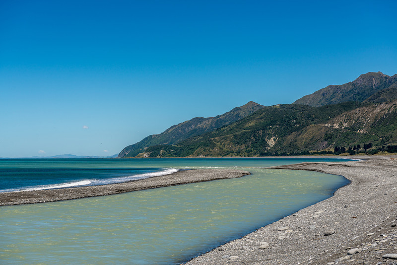 Where the Clarence River meets the sea. The Seaward Kaikoura Range in the background