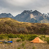 Campsite on the third night. Mitre Peak, Mount Alarm and Tapuae-O-Uenuku above