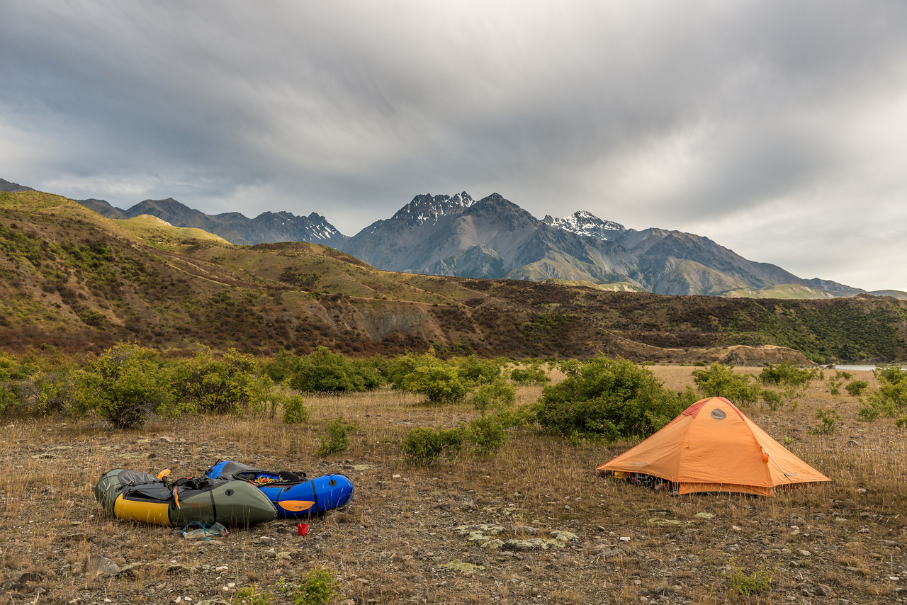 Campsite on the third night. Mitre Peak, Mount Alarm and Tapuae-O-Uenuku above