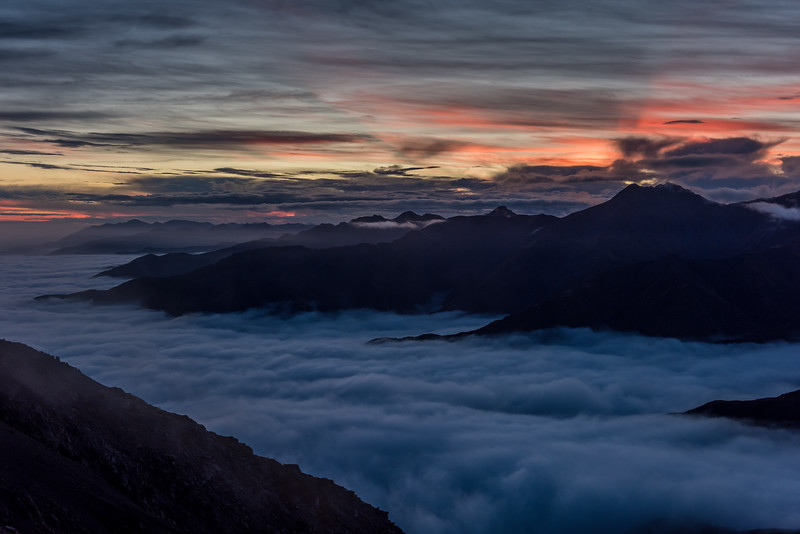 The southern spurs of the Seaward Kaikoura Range from the summit of Gables End at dawn.