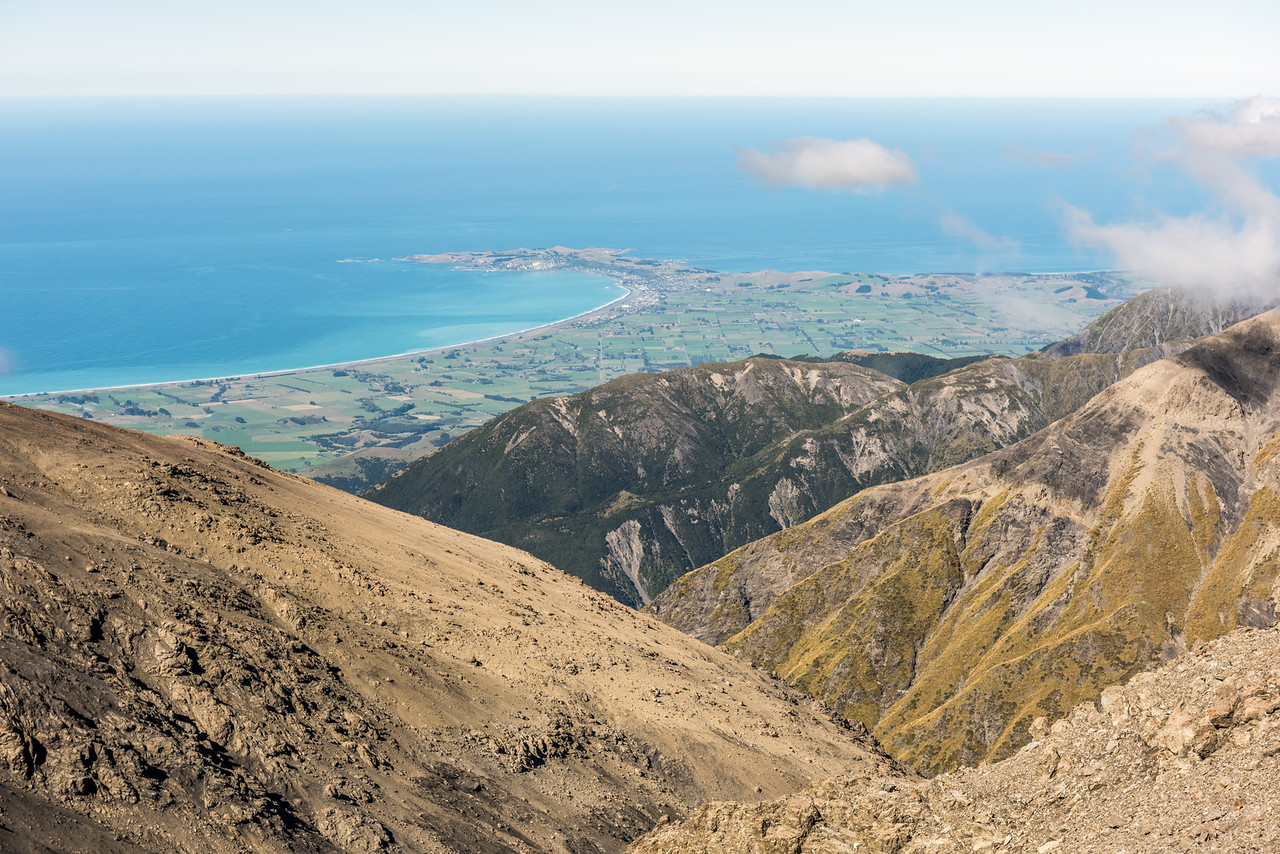 View of the Kaikoura Peninsula from the east ridge of Manakau