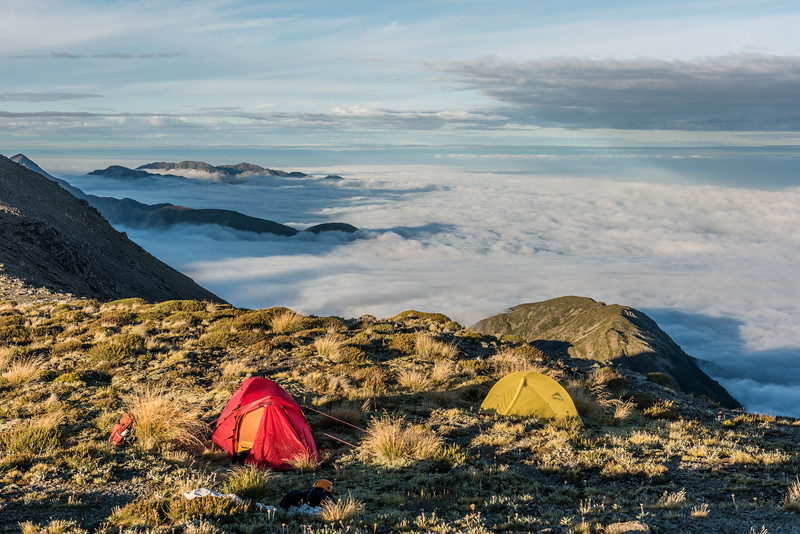 Campsite on Gables End. Mt Alexander, Batty and Patutu are islands in a sea of cloud back left.