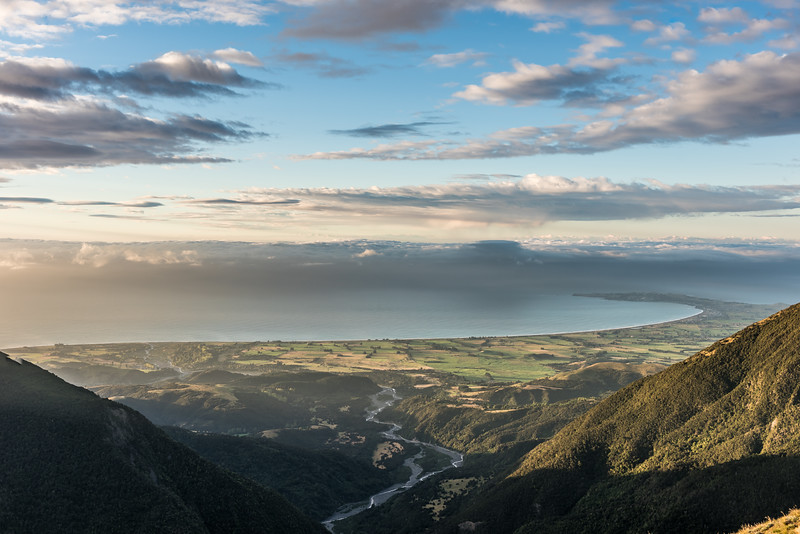 Hapuku River mouth and Kaikoura Peninsula from Mount Stace.