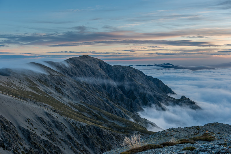 Looking south west from the summit of Gables End at dusk. Mount Fyffe is in the foreground, just left of centre image.