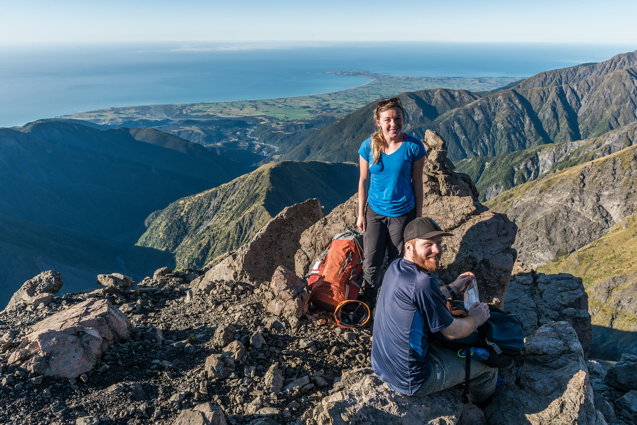 High up on Surveyor Spur. The Kaikoura Peninsula is in the background.