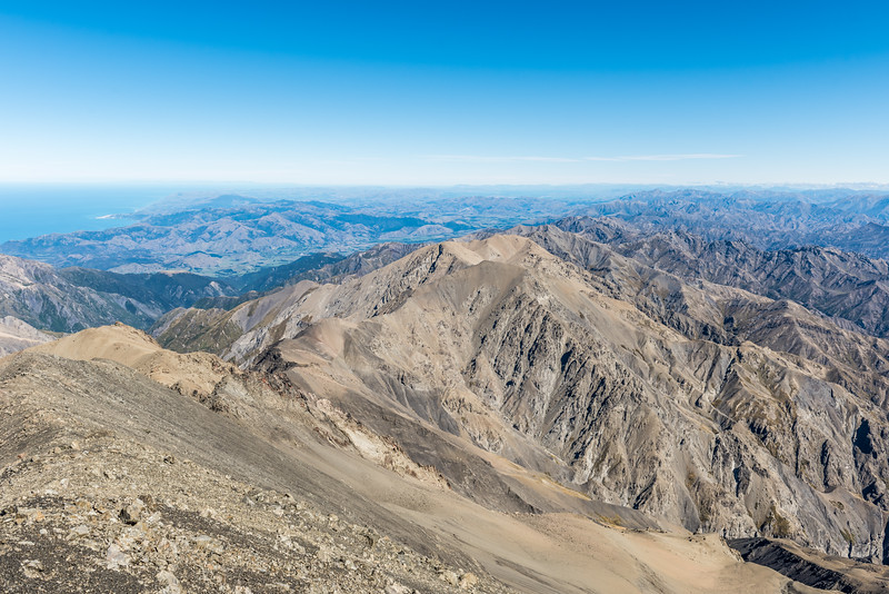 View south-west from the summit of Manakau. Mt Saunders is at centre image. Banks Peninsula is just visible on the skyline on left.