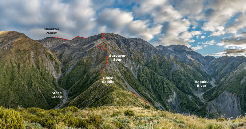 Surveyor Spur - Manakau route topo