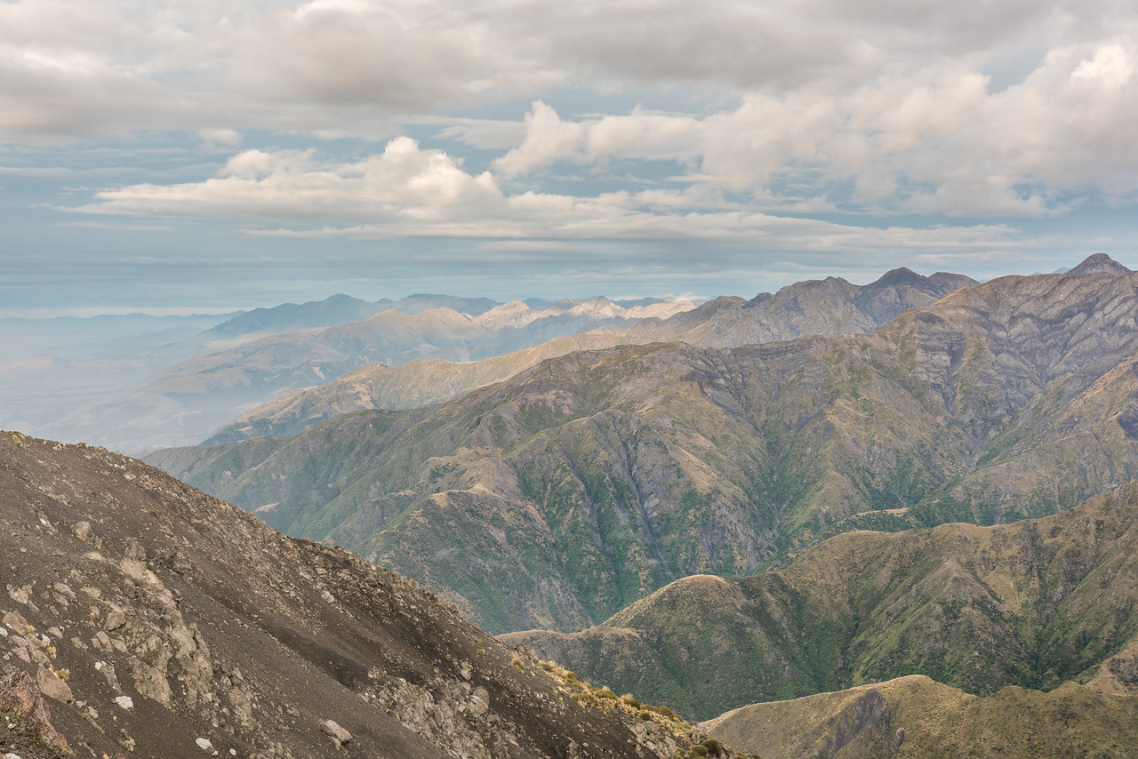The southern spurs of the Seaward Kaikoura Range from the summit of Gables End.