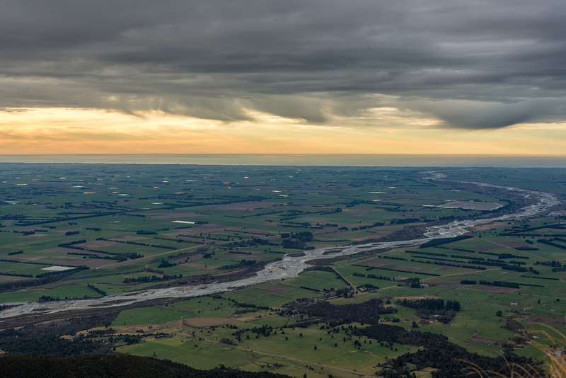 The Rangitata River flows across the Canterbury Plains. View from Little Mount Peel / Huatekerekere
