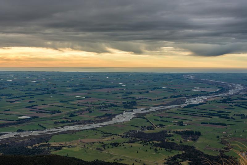 The Rangitata River flows across the Canterbury Plains. View from Little Mount Peel / Huatekerekere