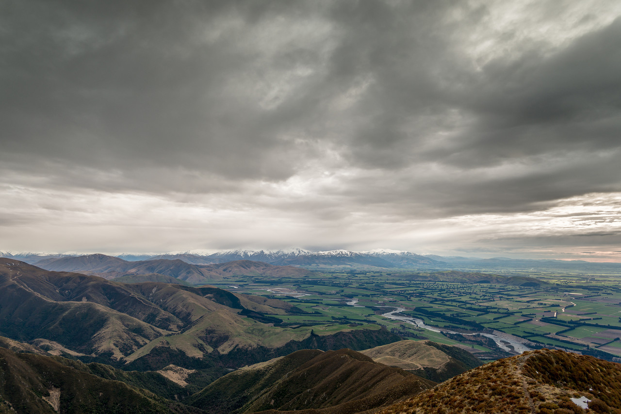 Mount Somers Range and Mount Hutt Range across the Rangitata River from Little Mount Peel / Huatekerekere
