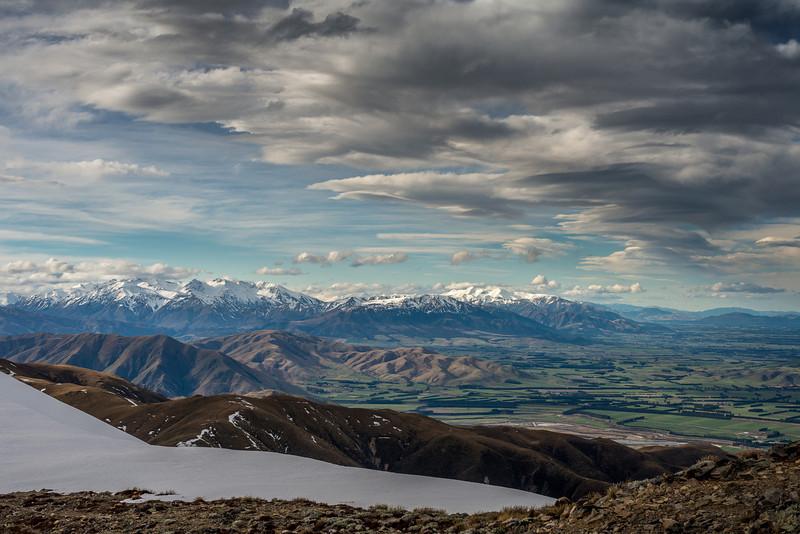 Mount Somers Range and Mount Hutt Range across the Rangitata River from Middle Mount Peel