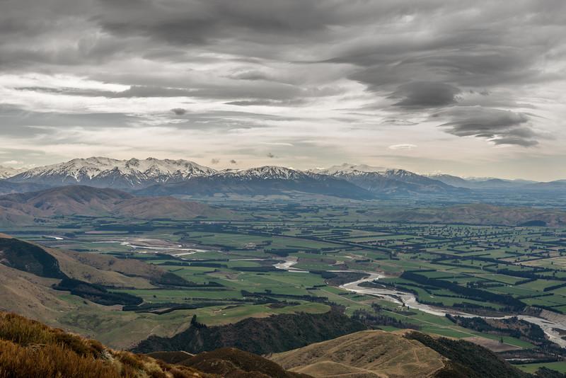 Mount Somers Range and Mount Hutt Range across the Rangitata River from Little Mount Peel / Huatekerekere