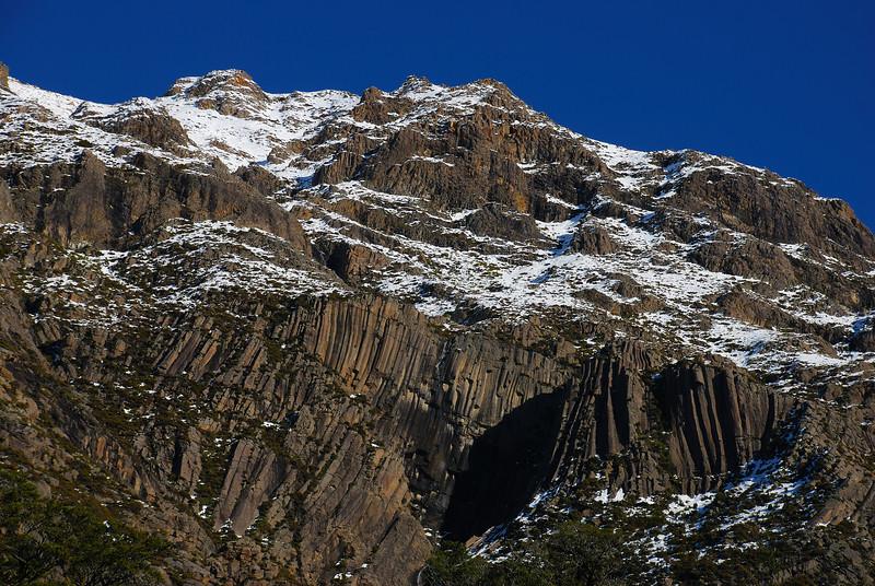 Basalt columns on Mount Somers