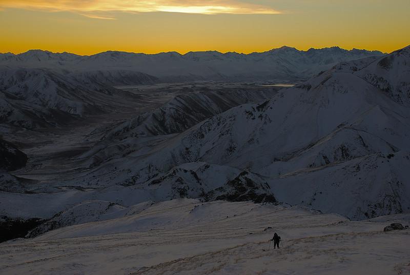 Descending Mount Somers at dusk