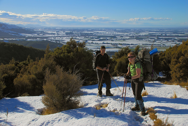 On Hookey Knob, looking down onto the Canterbury Plains. The hills of Banks Peninsula are just visible on the skyline