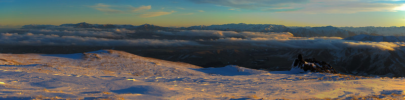 Mt Somers panorama at sunset. Mt Peel on the far left