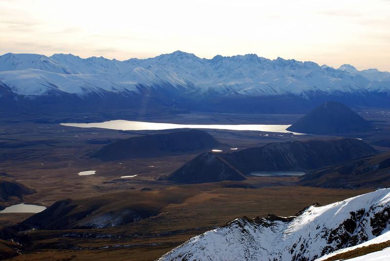 Arrowsmith Range and Lake Heron from Quaker Saddle