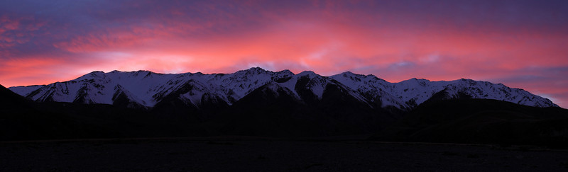 Taylor and Mount Somers Range at dawn. View from the Swin River bed