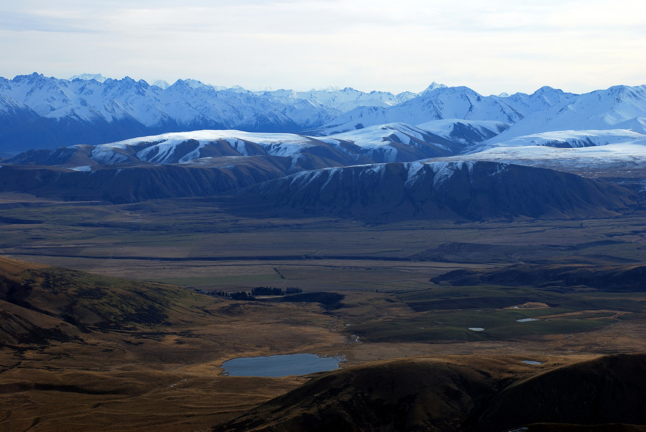 Lake Emily and the Dogs Range from Peak 1755m. Mt Cook, Tasman and D'Archiac on the horizon.