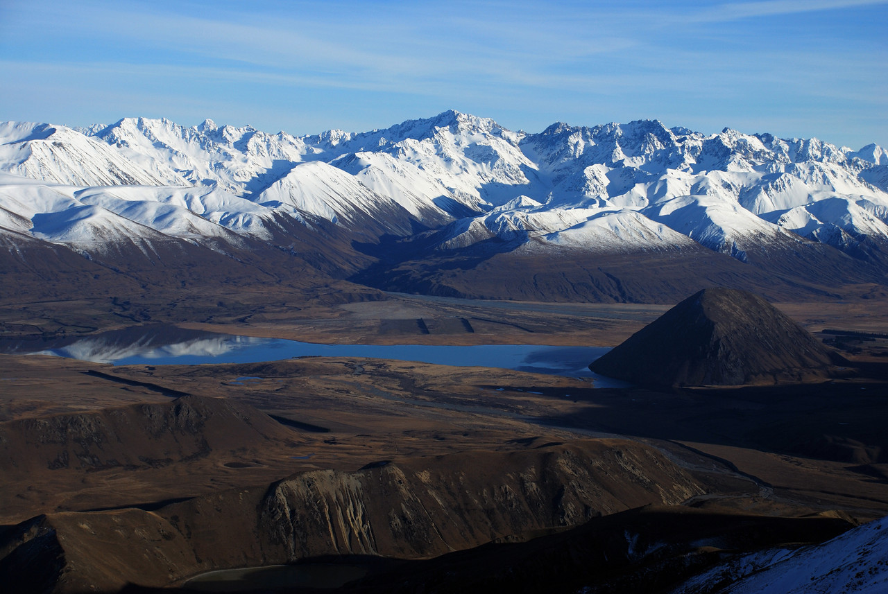 Arrowsmith Range and Lake Heron from Peak 2093m