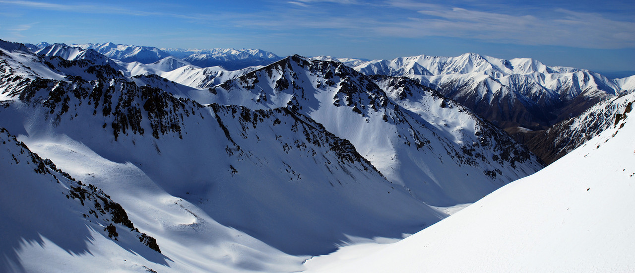Looking down into Boundary Creek and towards Mt Hutt (right)