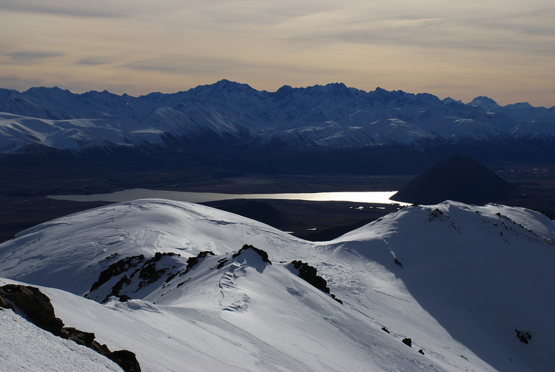 The Arrowsmith Range and Lake Heron from peak 1755m