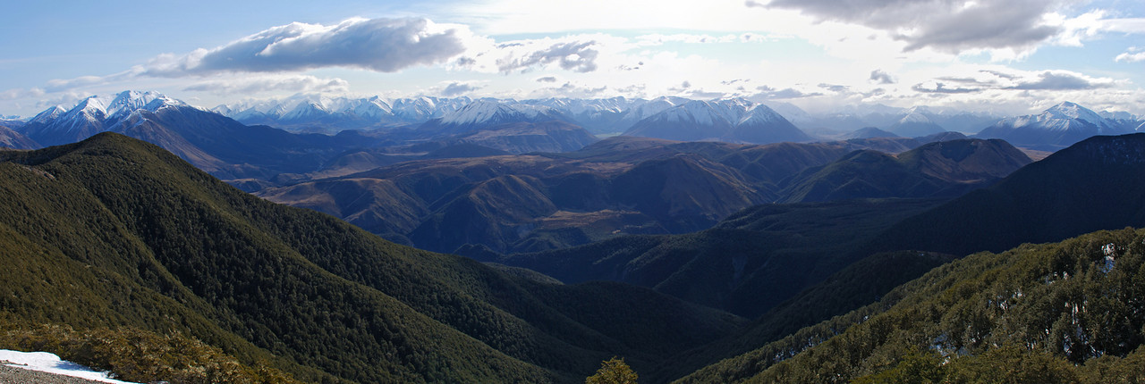 Looking west across the Waimakariri River from Black Hill. The Torlesse Range on the far left