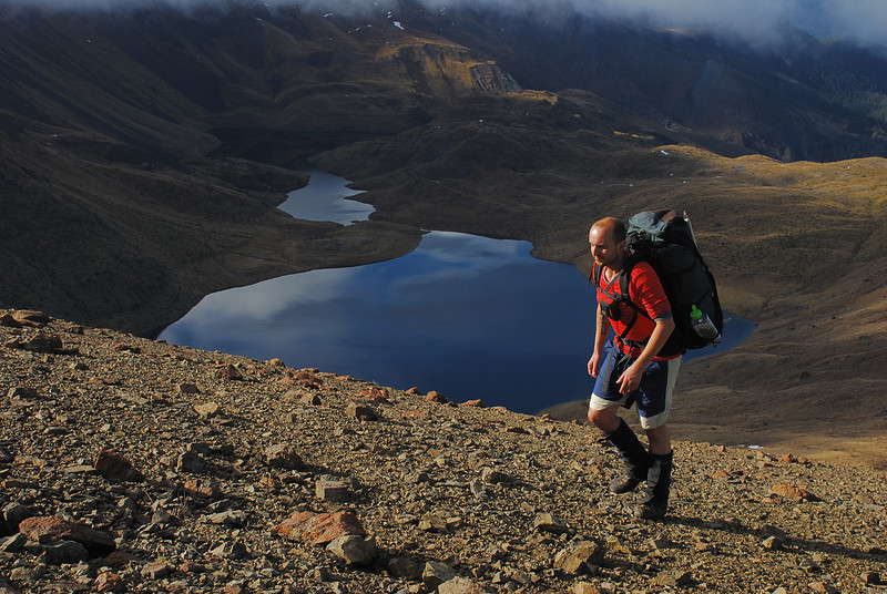 Climbing above the Acheron Lakes, on the way to unnamed peak 1777m, Livingstone Mountains