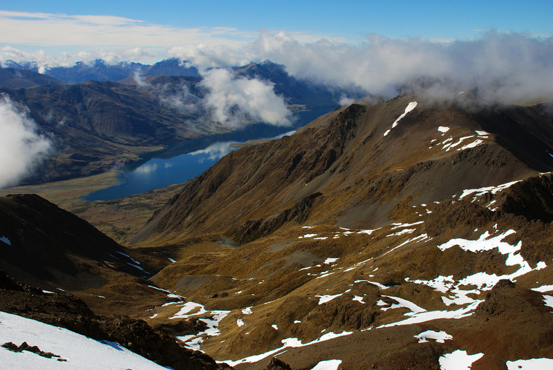 View from unnamed peak 1777m: North Mavora Lake, and the valley we climbed to the Acheron Lakes