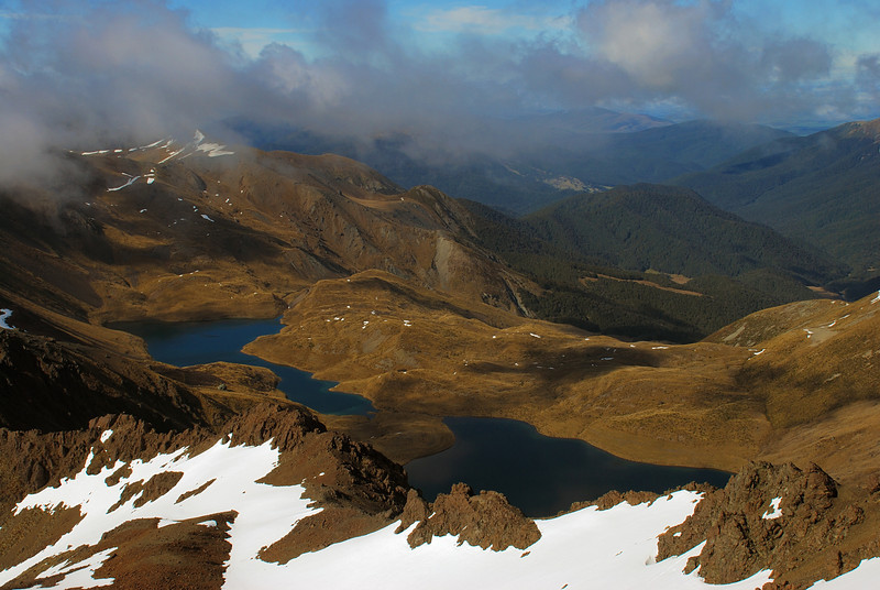 View onto the Acheron Lakes and Upukerora River (top right) from unnamed peak 1777m, Livingstone Mountains