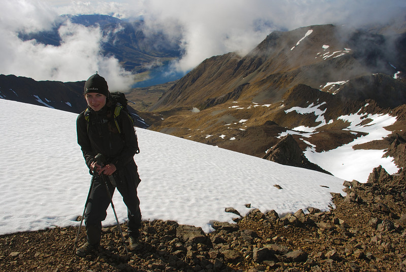 On the ridge of unnamed peak 1777m, Livingstone Mountains. Our ascent route and the North Mavora Lake below